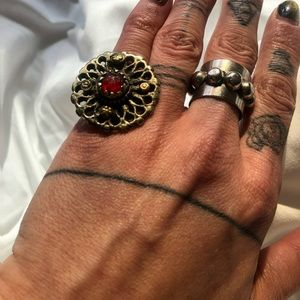 Vintage brass ring with red gem stone